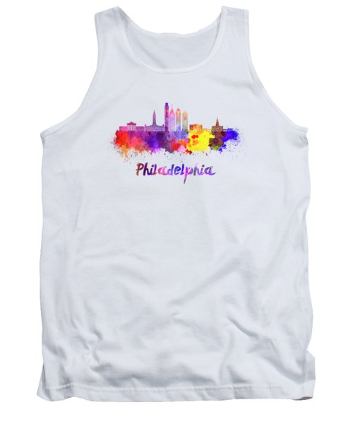 Philadelphia Skyline In Watercolor Tank Top