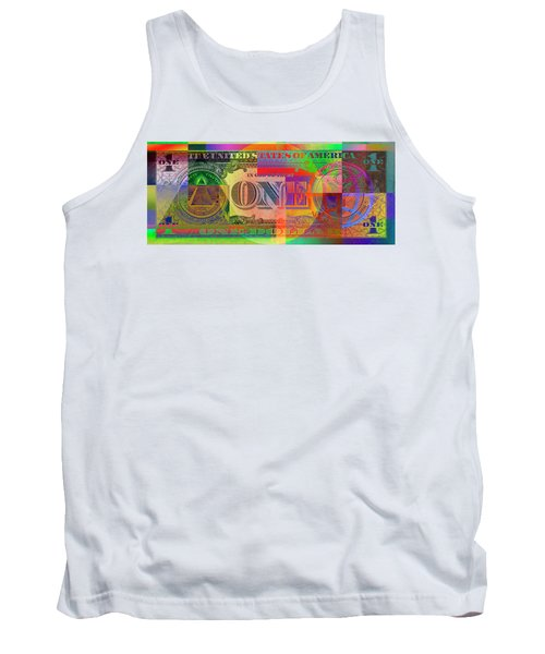 Pop-art Colorized One U. S. Dollar Bill Reverse Tank Top