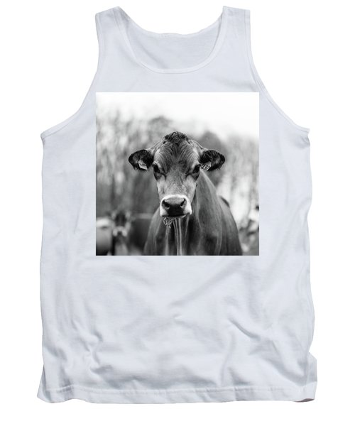 Portrait Of A Dairy Cow In The Rain Stowe Vermont Tank Top