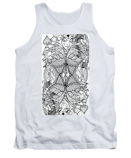 Tank Top featuring the drawing Queen Of Spades 2 by Jani Freimann