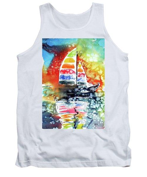 Rainbow Sailboat At Sunset Tank Top by Kovacs Anna Brigitta