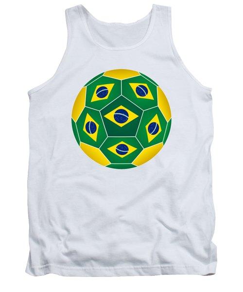Soccer Ball With Brazilian Flag Tank Top
