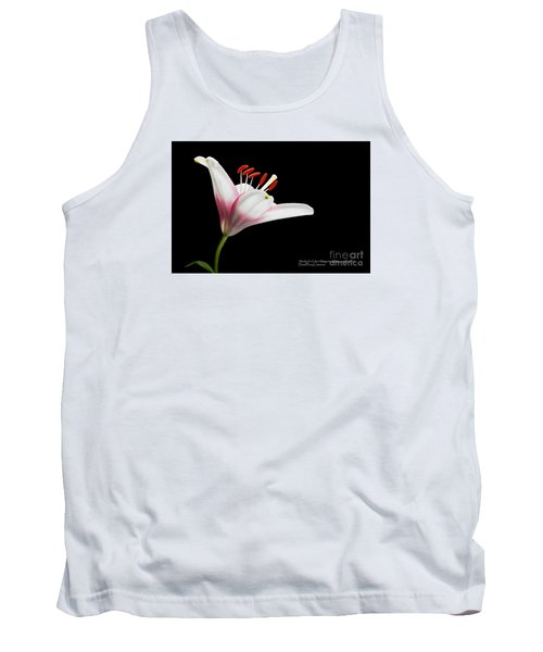 Tank Top featuring the photograph Study Of A Lily In Magenta, White, And Red #2 By Flower Photographer David Perry Lawrence by David Perry Lawrence