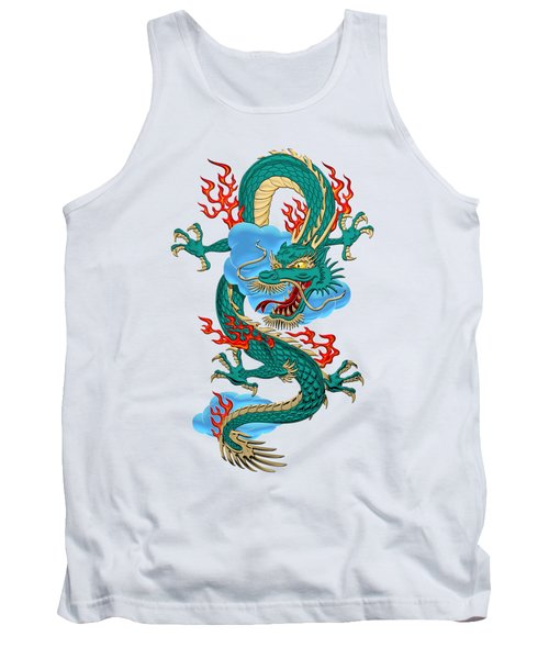 The Great Dragon Spirits - Turquoise Dragon On Rice Paper Tank Top by Serge Averbukh