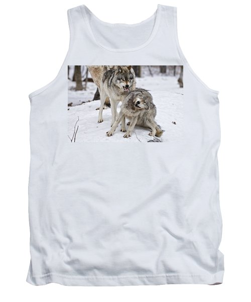 Tank Top featuring the photograph Timber Wolves In Winter by Michael Cummings
