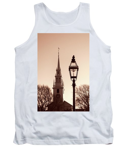 Tank Top featuring the photograph Trinity Church Newport With Lamp by Nancy De Flon