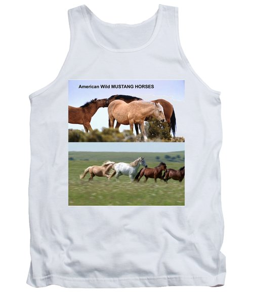 Twin Photos Awesome North American Mustangs Horses Cowboys Photography See On Posters Pillows Curtai Tank Top by Navin Joshi