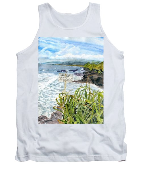 Tank Top featuring the painting View From Tanah Lot Bali Indonesia by Melly Terpening