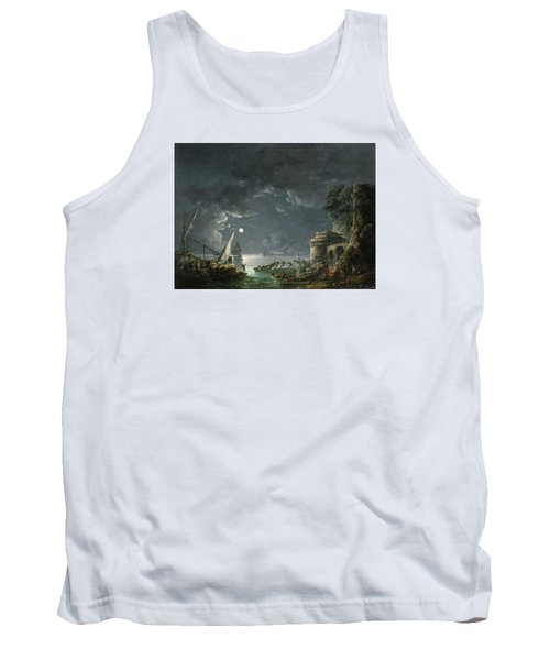 Tank Top featuring the painting View Of A Moonlit Mediterranean Harbor by Carlo Bonavia