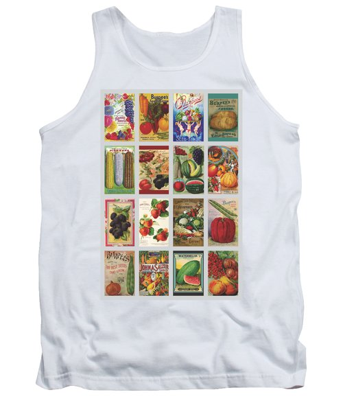 Vintage Farm Seed Packs Tank Top by Debbie Karnes