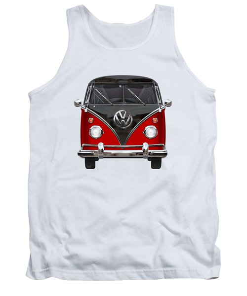 Volkswagen Type 2 - Red And Black Volkswagen T 1 Samba Bus On White  Tank Top by Serge Averbukh