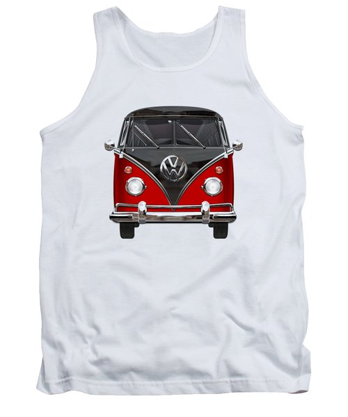 Volkswagen Type 2 - Red And Black Volkswagen T 1 Samba Bus On White  Tank Top