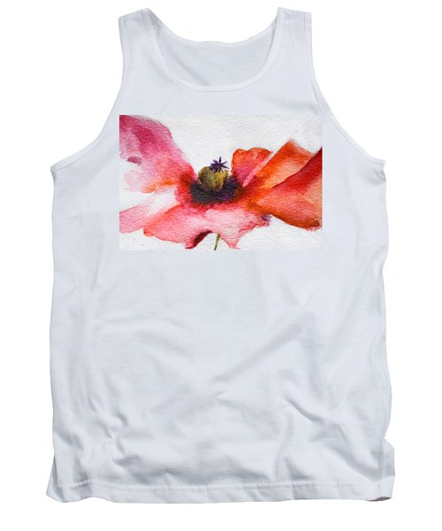 Watercolor Poppy Flower Tank Top