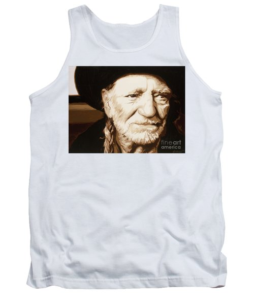 Tank Top featuring the painting Willie Nelson by Ashley Price