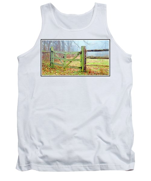 Wooden Fence On A Foggy Morning Tank Top