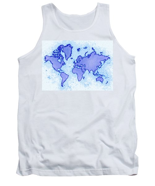 World Map Airy In Blue And White Tank Top by Eleven Corners