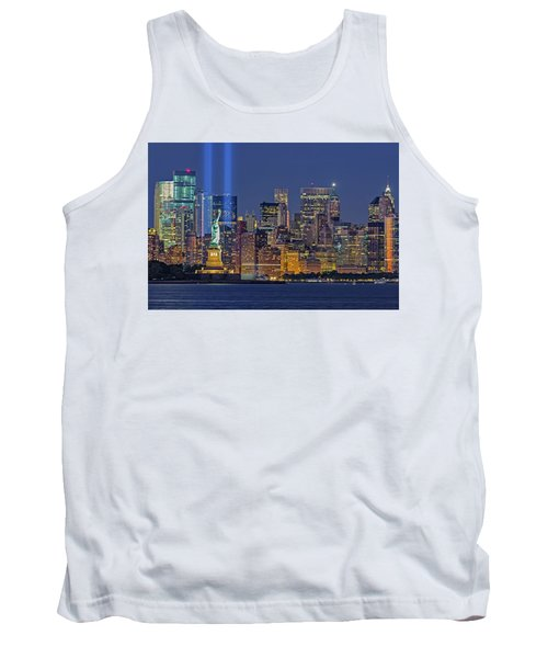 Tank Top featuring the photograph World Trade Center Wtc Tribute In Light Memorial II by Susan Candelario