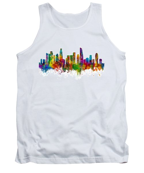 Los Angeles California Skyline Tank Top by Michael Tompsett