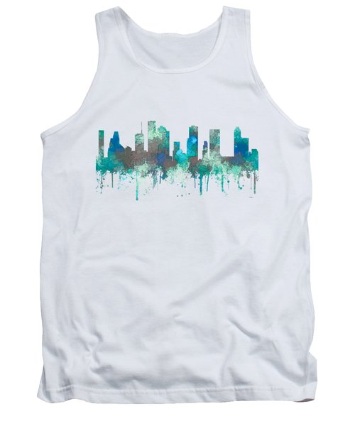 Tank Top featuring the digital art Houston Texas Skyline by Marlene Watson