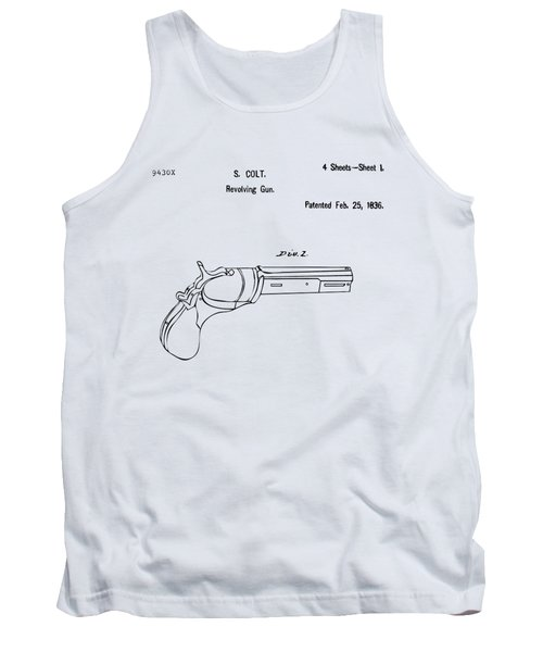 1836 First Colt Revolver Patent Artwork - Vintage Tank Top