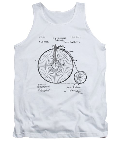 1881 Velocipede Bicycle Patent Artwork - Vintage Tank Top by Nikki Marie Smith