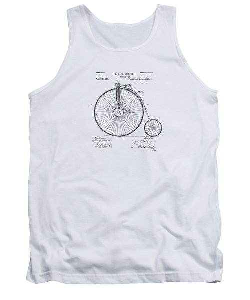 1881 Velocipede Bicycle Patent Artwork - Vintage Tank Top