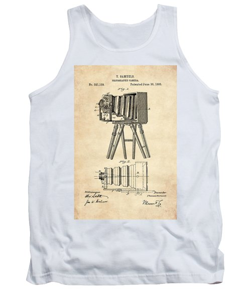 1885 Camera Us Patent Invention Drawing - Vintage Tan Tank Top