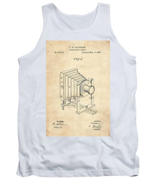 1888 Camera Us Patent Invention Drawing - Vintage Tan Tank Top