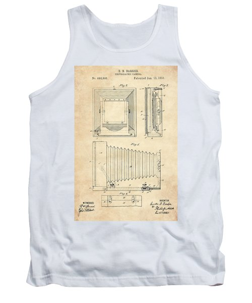1891 Camera Us Patent Invention Drawing - Vintage Tan Tank Top