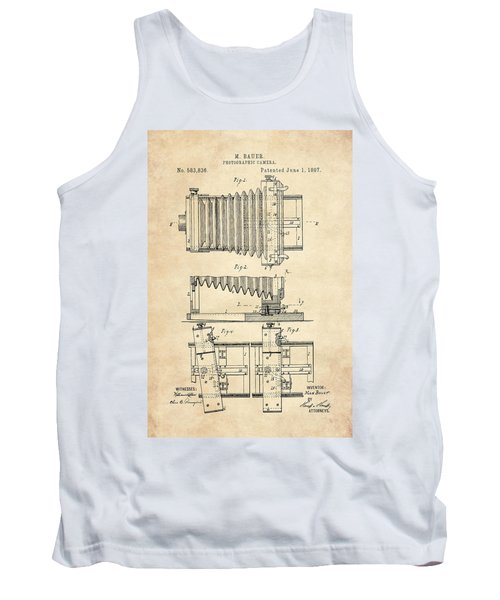 1897 Camera Us Patent Invention Drawing - Vintage Tan Tank Top
