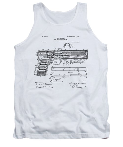 Tank Top featuring the digital art 1903 Mcclean Pistol Patent Artwork - Vintage by Nikki Marie Smith
