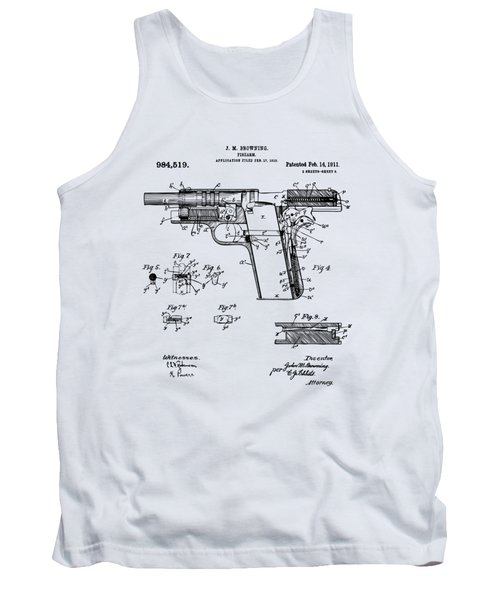 Tank Top featuring the drawing 1911 Colt 45 Browning Firearm Patent 2 Artwork Vintage by Nikki Marie Smith