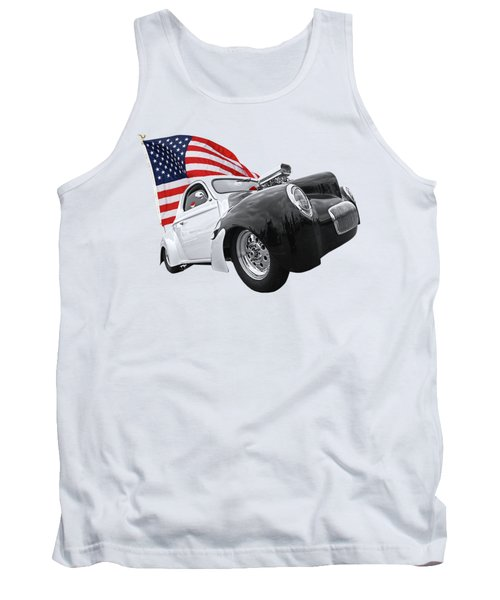 Tank Top featuring the photograph 1941 Willys Coupe With Us Flag by Gill Billington