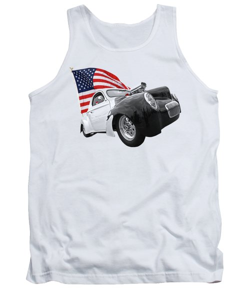 1941 Willys Coupe With Us Flag Tank Top