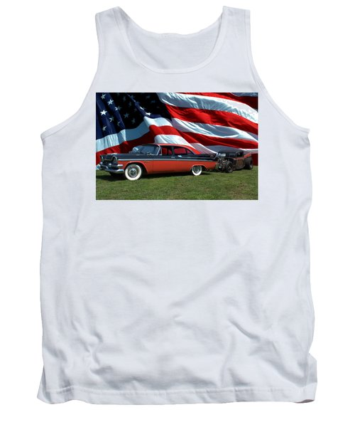 1958 Dodge Coronet And 1935 International Dragster Tank Top by Tim McCullough