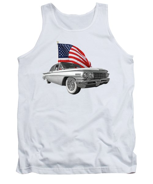 Tank Top featuring the photograph 1960 Oldsmobile With Us Flag by Gill Billington