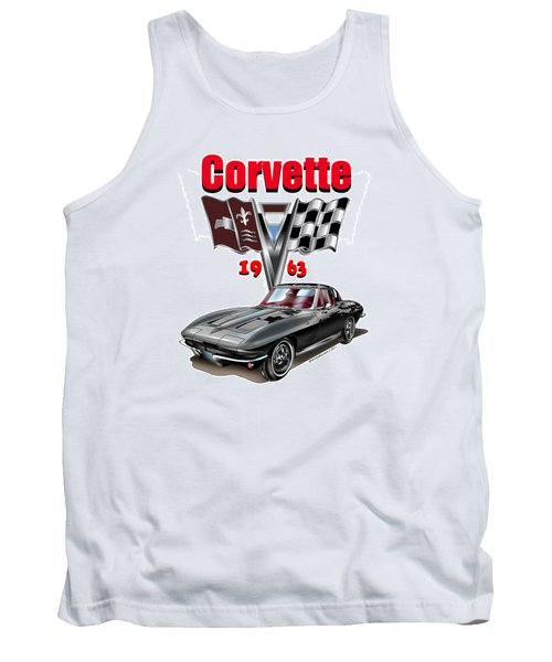 Tank Top featuring the mixed media 1963 Corvette With Split Rear Window by Thomas J Herring