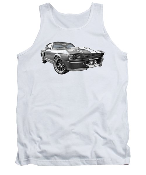 1967 Eleanor Mustang In Black And White Tank Top