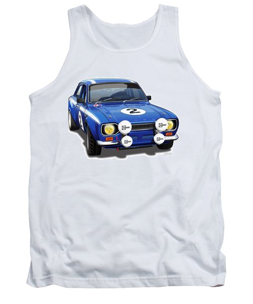 1970 Ford Escort Mexico Illustration Tank Top by Alain Jamar