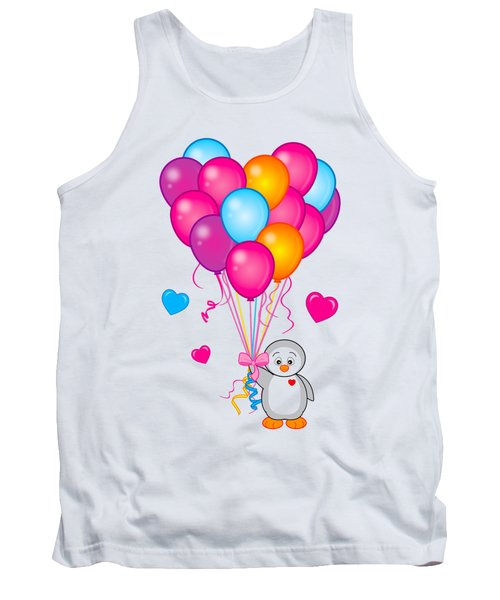 Baby Penguin With Heart Balloons Tank Top