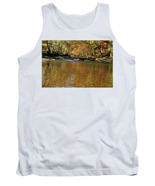 Creek Water Flowing Through Woods In Autumn Tank Top