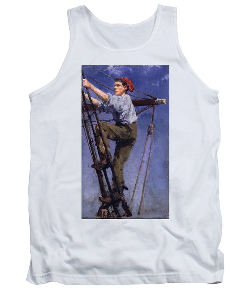 Tank Top featuring the painting Going Aloft by Henry Scott Tuke