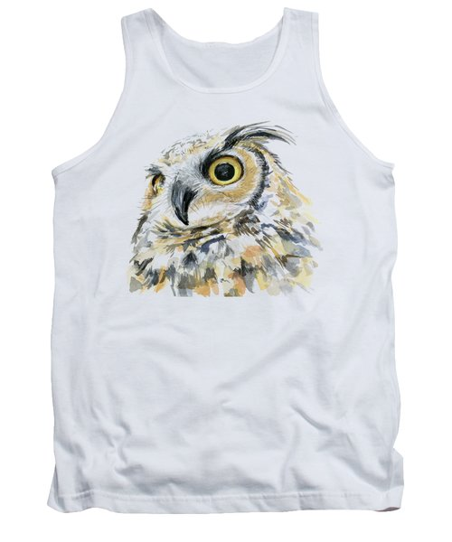Great Horned Owl Watercolor Tank Top