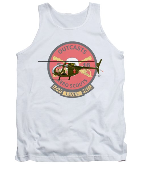 Tank Top featuring the digital art Hughes Oh-6a Cayuse Miss Clawd Iv by Arthur Eggers