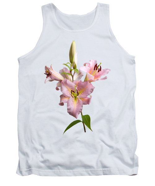Tank Top featuring the photograph Pink Lilies On Cream by Jane McIlroy