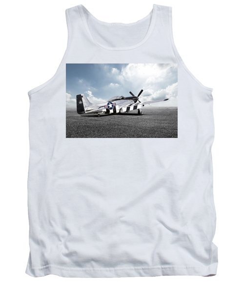 Tank Top featuring the digital art Quick Silver P-51 by Peter Chilelli