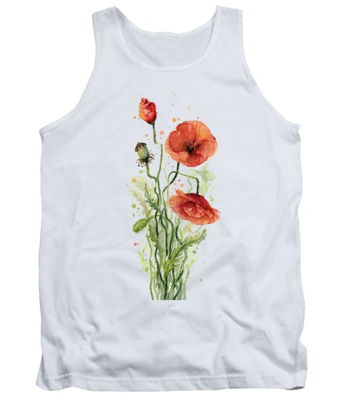 Red Poppies Watercolor Tank Top