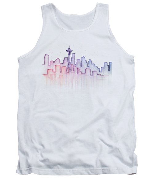 Seattle Skyline Watercolor Tank Top