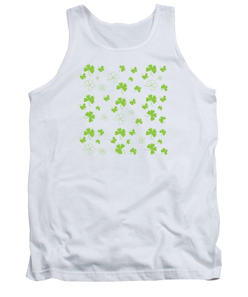 St. Patrick's Four Leaf Clover Background Tank Top by Serena King