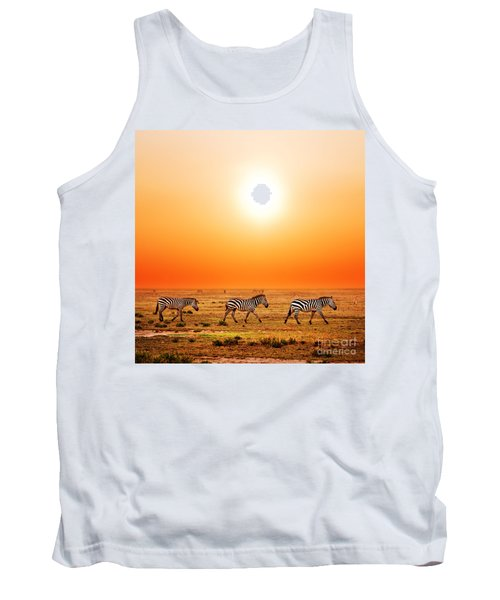 Zebras Herd On African Savanna At Sunset. Tank Top